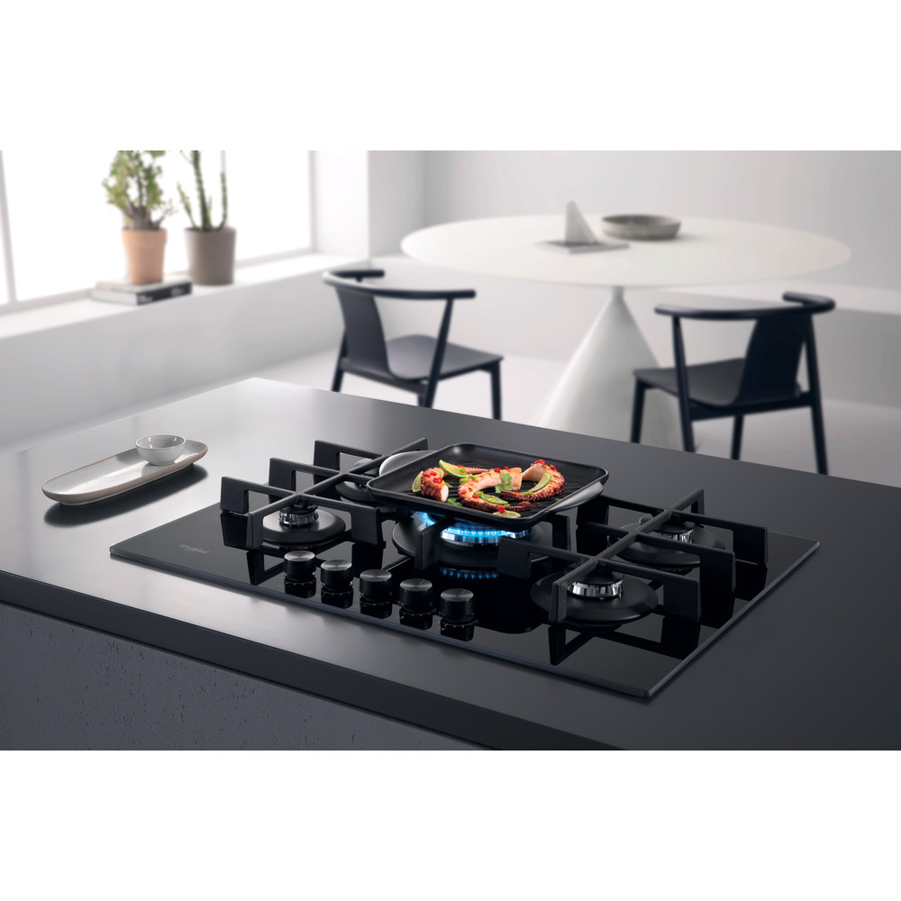 Whirlpool W Collection GOWL 758/NB Hob 5 Burners Gas on Glass 75cm - Black