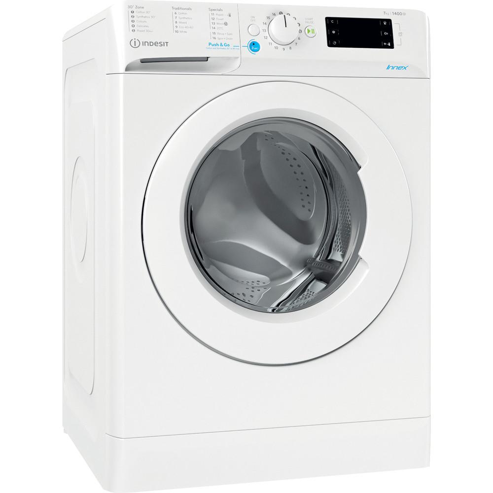 Indesit Washing machine Free-standing BWE 91683X W UK N White Front loader D Perspective