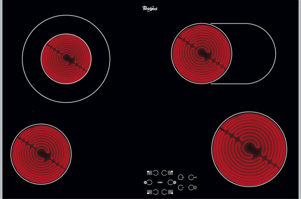 Whirlpool Hob AKT 8360 LX Black Radiant vitroceramic Frontal
