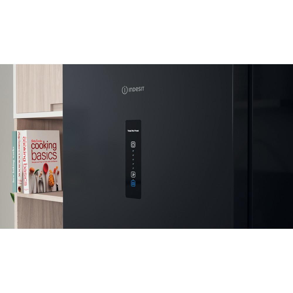 Indesit Réfrigérateur combiné Pose-libre INFC8 TO22K Noir 2 portes Lifestyle control panel