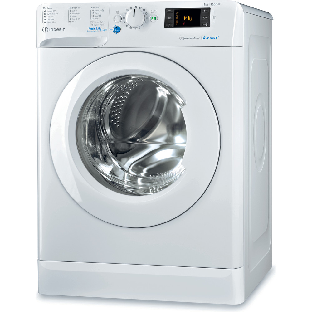 Indesit Washing machine Free-standing BWE 91683X W UK N White Front loader A+++ Perspective