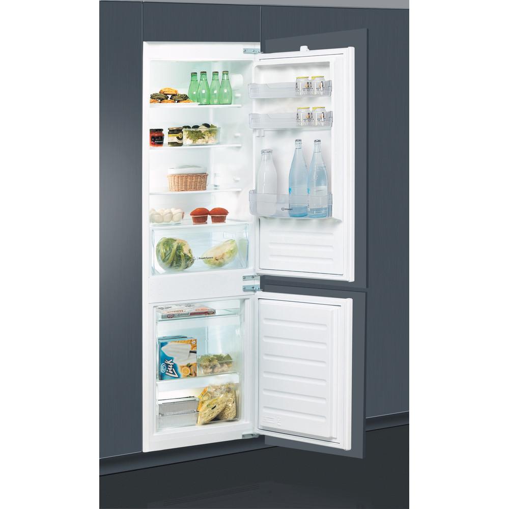 Indesit Kombinovaná chladnička s mrazničkou Vestavné B 18 A2 D/I Ocel 2 doors Perspective open