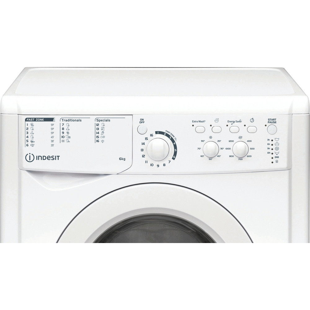 Indesit Перална машина Свободностоящи EWSC 61251 W EU N Бял Предно зареждане F Control panel