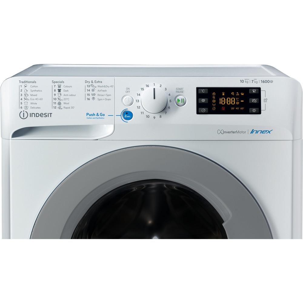 Indesit Mosó-szárító Szabadonálló BDE 1071682X WS EE N Fehér Front loader Control panel