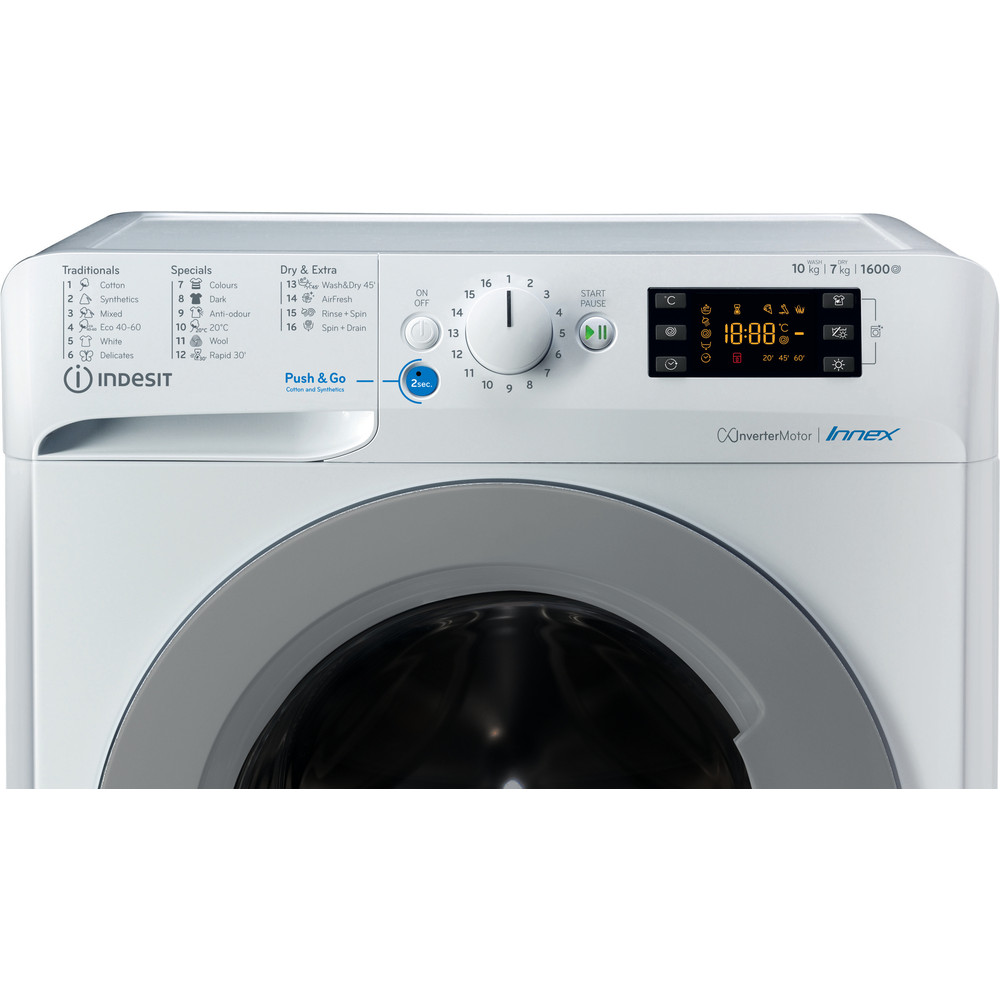 Indesit Perilica i sušilica Samostojeći BDE 1071682X WS EE N Bijela Prednje punjenje Control panel