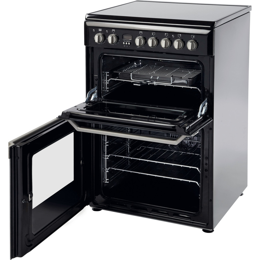 Indesit Double Cooker ID60C2(K) S Black A Vitroceramic Perspective open