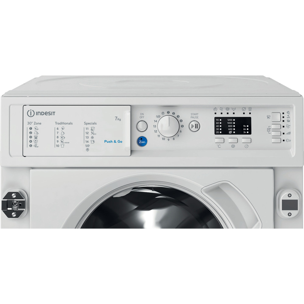 Indesit Перална машина Вграден BI WMIL 71252 EU N Бял Предно зареждане E Control panel