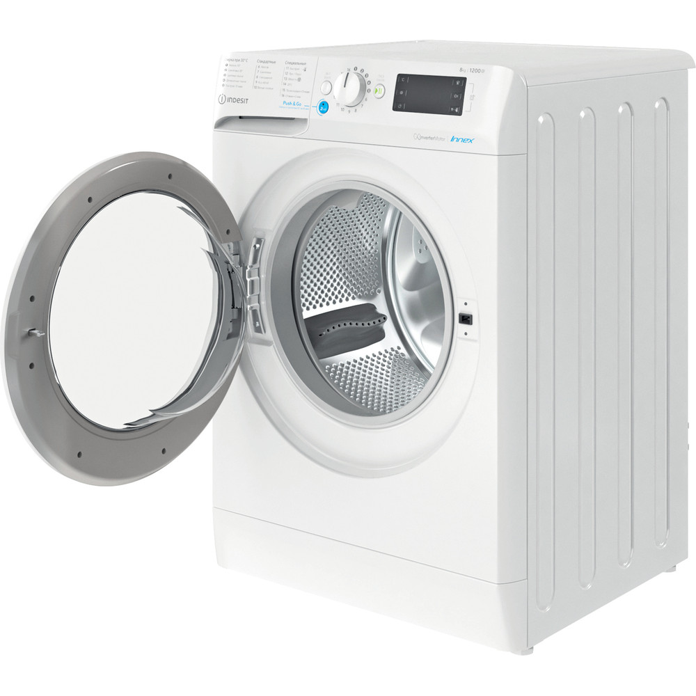Indesit Стиральная машина Отдельностоящий BWE 81282 L Белый Фронтальная загрузка A Perspective open