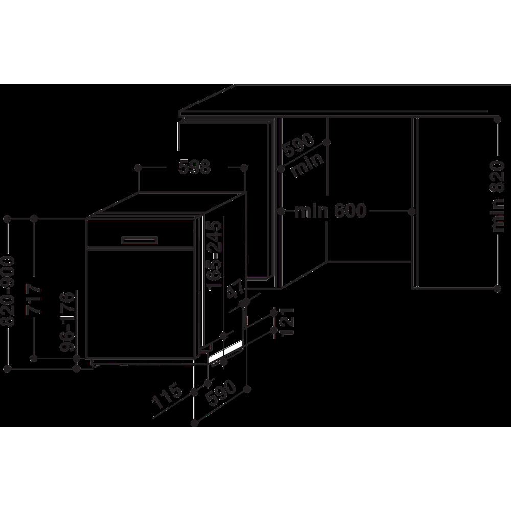 Indesit Diskmaskin Inbyggda DUC 2C24 AC X Underbyggd E Technical drawing