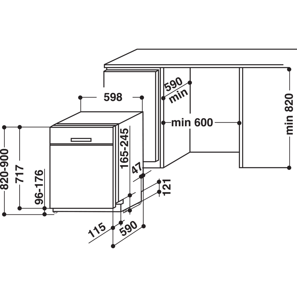 Indesit Oppvaskmaskin Integrert DUC 2C24 AC X Under benk E Technical drawing