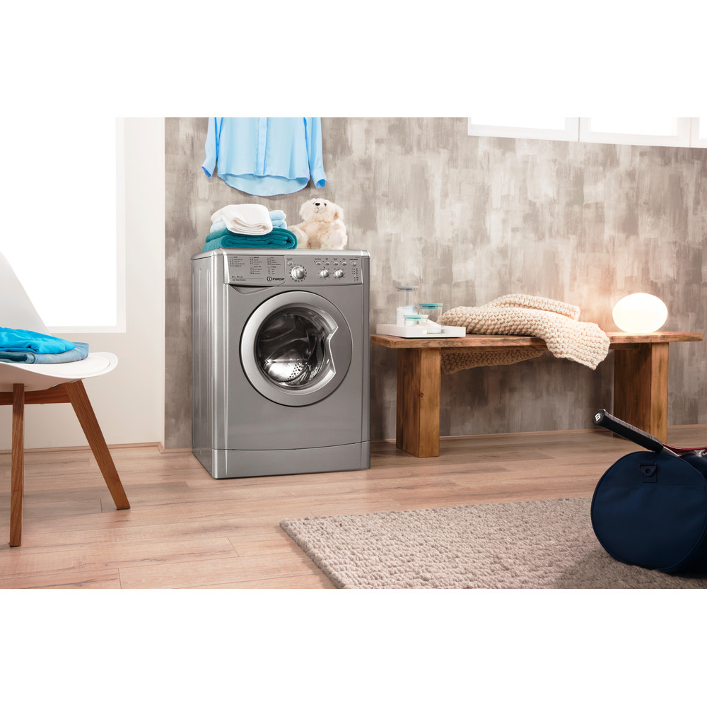 Indesit Washer dryer Free-standing IWDC 6125 S (UK) Silver Front loader Lifestyle_Perspective