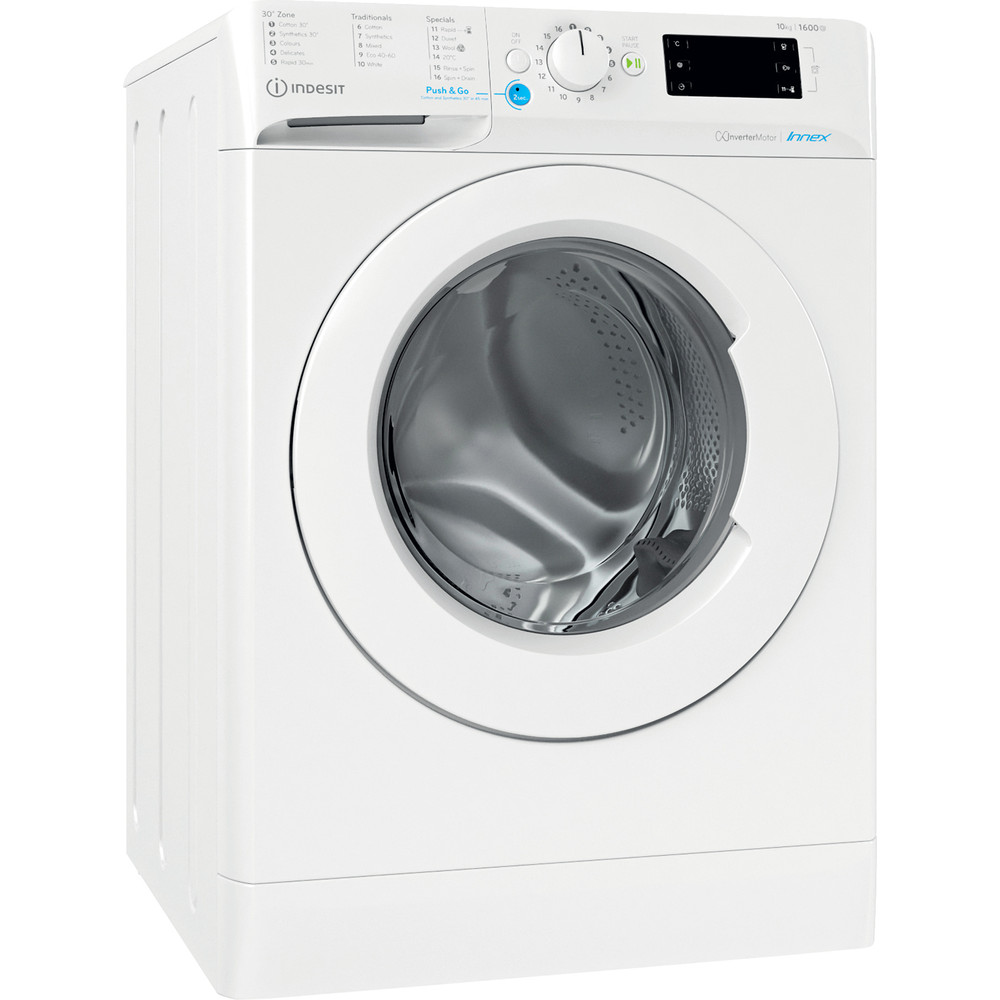 Indesit Washing machine Free-standing BWE 101683X W UK N White Front loader D Perspective