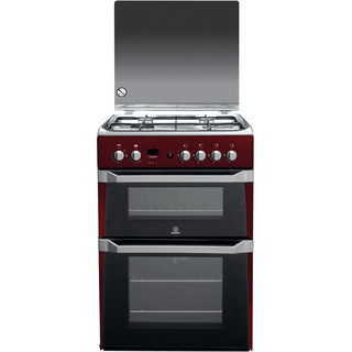 Indesit Double Cooker ID60G2(R)/UK Red A+ Enamelled Sheetmetal Frontal