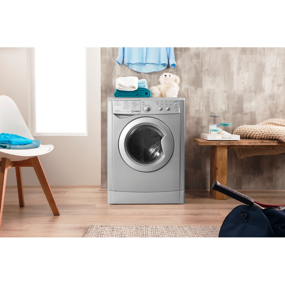 Indesit Washer dryer Free-standing IWDC 6125 S (UK) Silver Front loader Lifestyle_Frontal