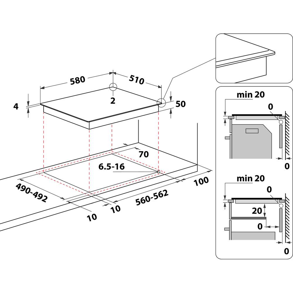 Indesit Piano cottura RI 861 X Nero Radiant vitroceramic Technical drawing