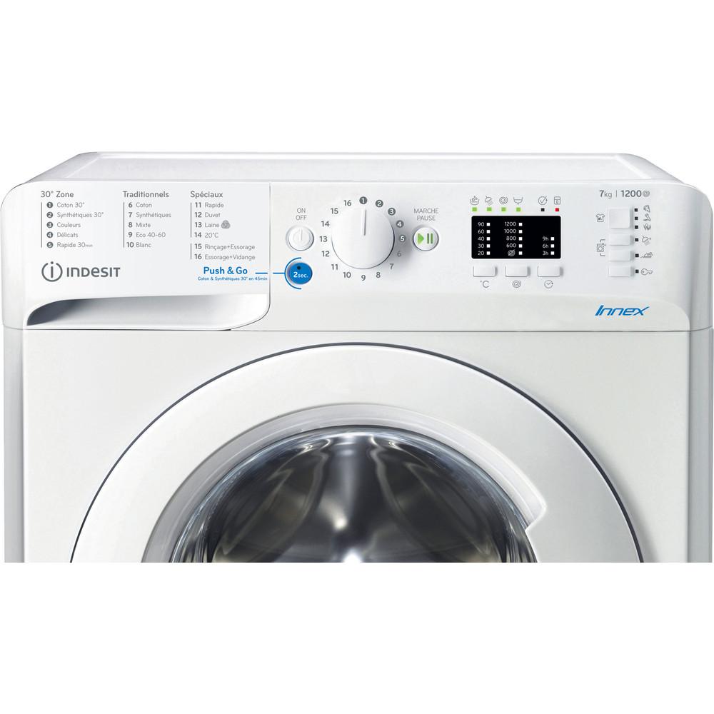 Indesit Lave-linge Pose-libre BWA71252WFR N Blanc Lave-linge frontal E Control panel