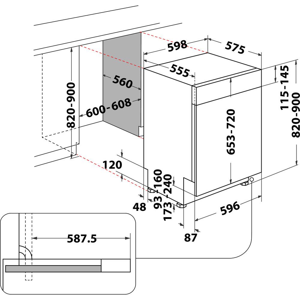 Indesit Geschirrspüler Einbau DBC 3C24 AC X Integrierbar E Technical drawing