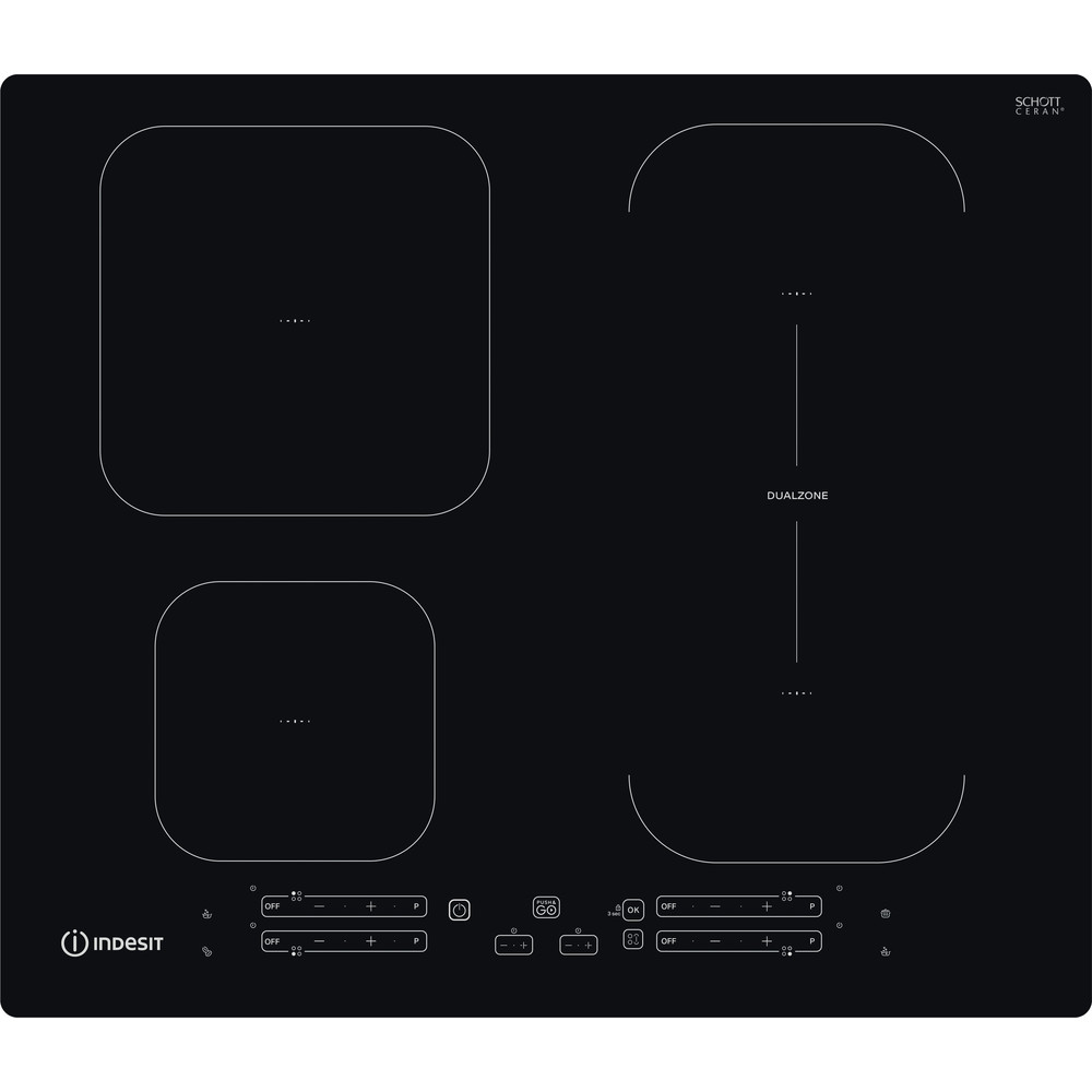 Indesit Table de cuisson IB 65B60 NE Noir Induction vitroceramic Frontal