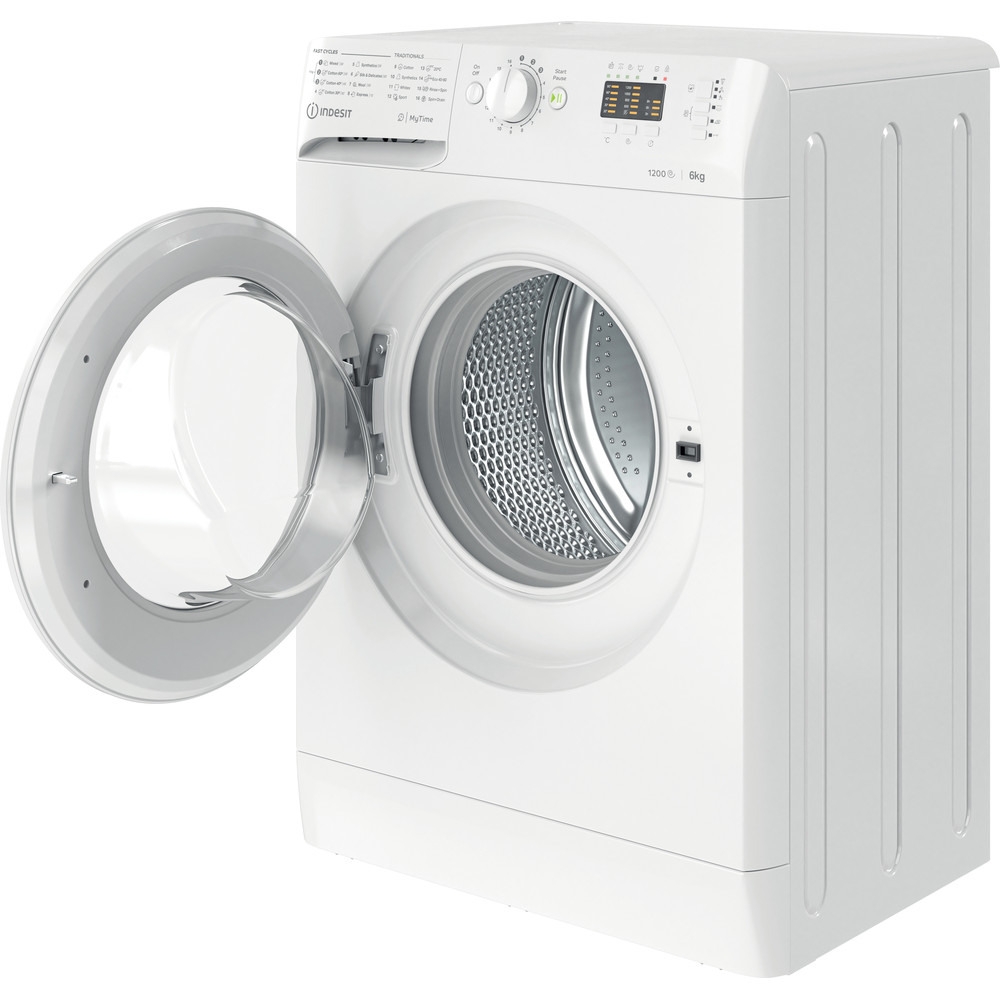Indesit Lave-linge Pose-libre MTWSA 61252 W EE Blanc Frontal A+++ Perspective open