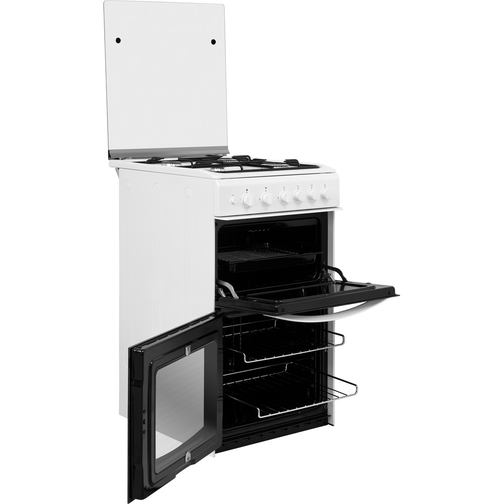 Indesit Double Cooker ID5G00KMW/UK /L White A+ Enamelled Sheetmetal Perspective open