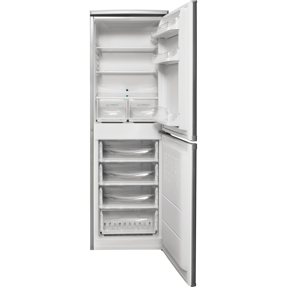 Indesit Kühl-/Gefrierkombination Freistehend CAA 55 NX 1 Inox 2 Türen Frontal open