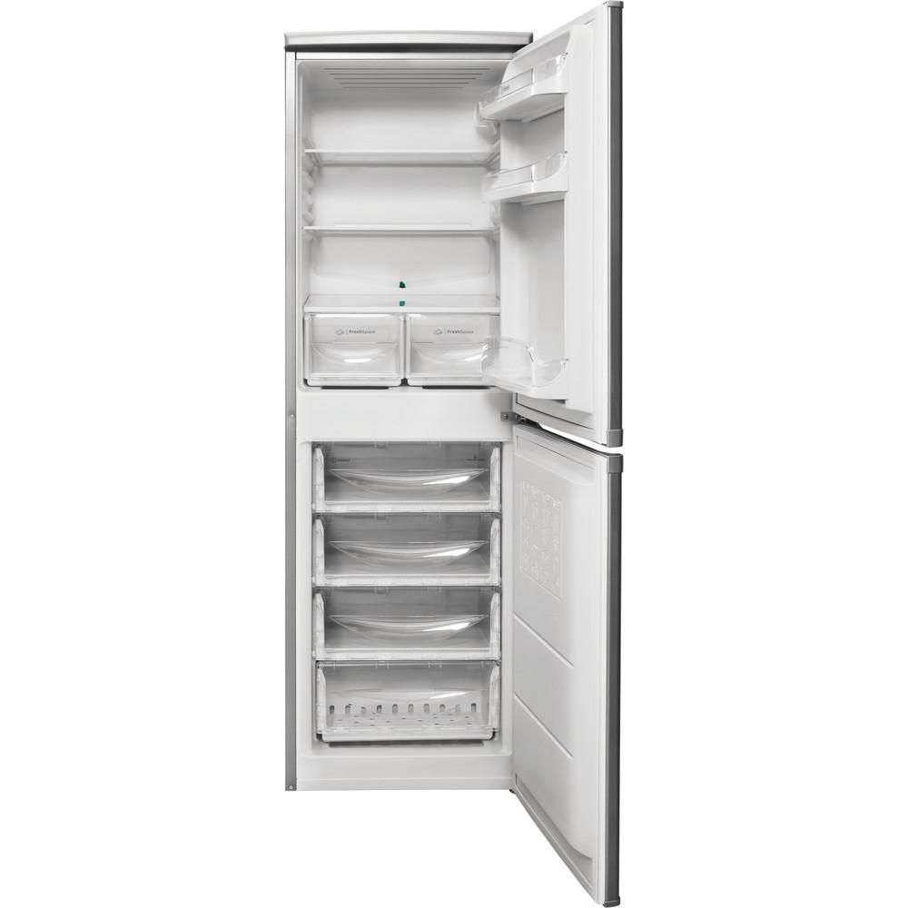 Indesit Combiné réfrigérateur congélateur Pose-libre CAA 55 NX 1 Inox 2 portes Frontal open