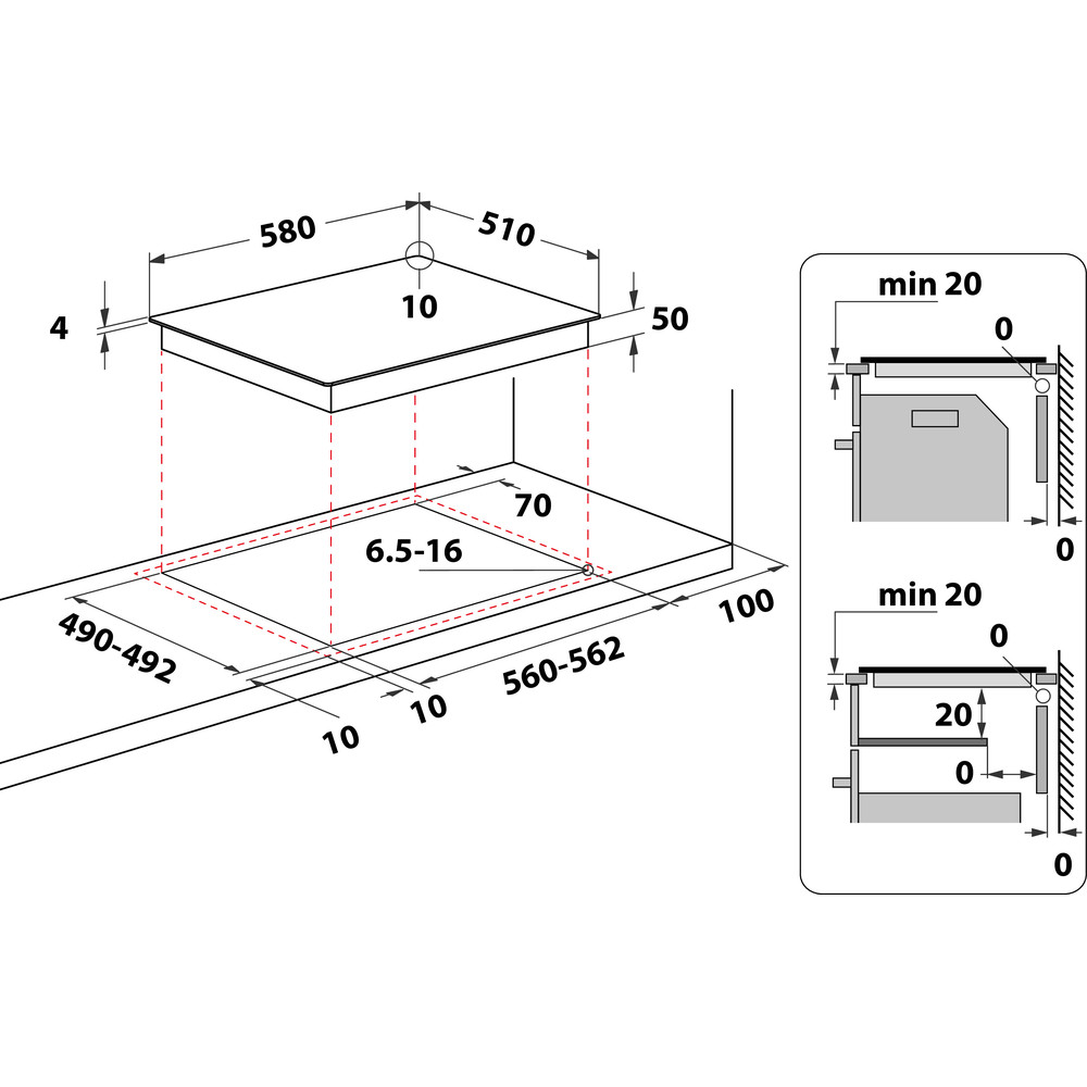 Indesit Варочная поверхность RI 860 C Черный Radiant vitroceramic Technical drawing