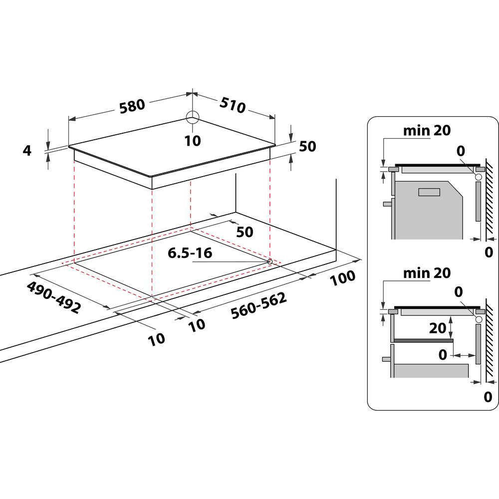 Indesit Encimera RI 860 C Negro Radiant vitroceramic Technical drawing