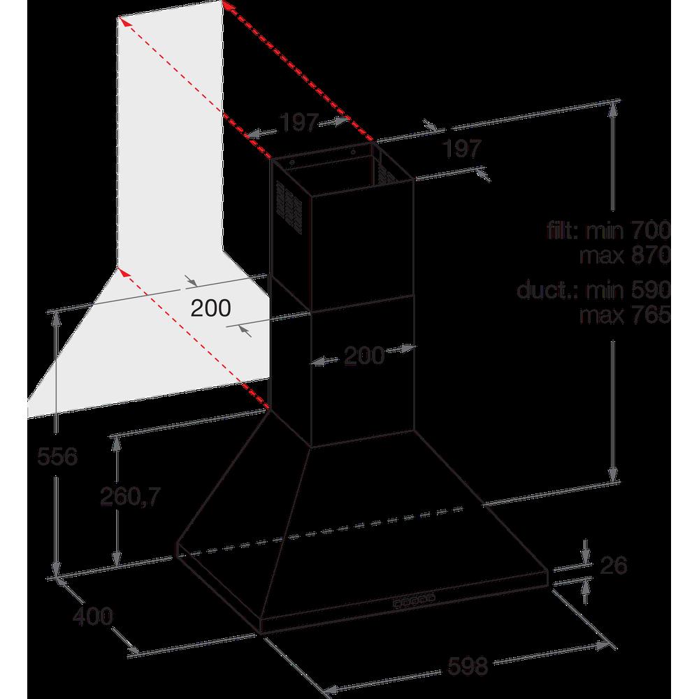 Indesit Dampkap Inbouw IHPC 6.4 LM X Inox Wandmodel Mechanisch Technical drawing