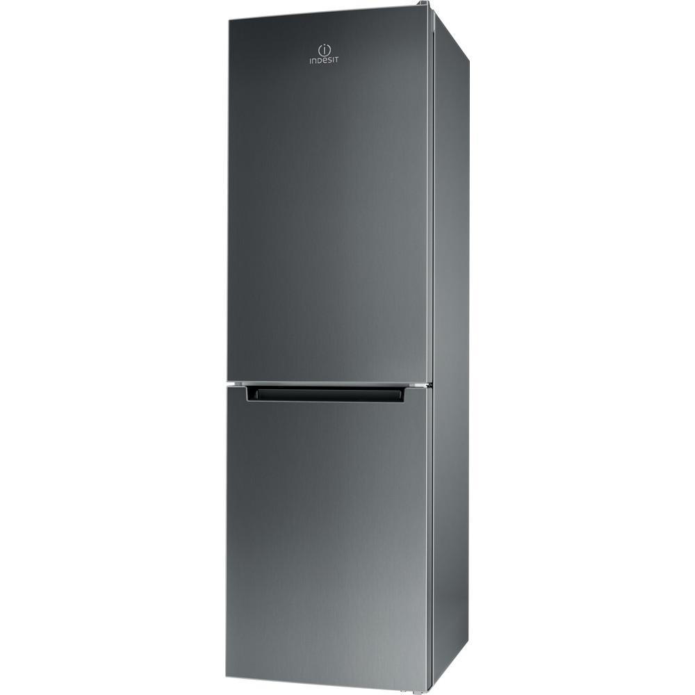 Indesit Kombinerat kylskåp/frys Fristående LI8 SN1E X Inox 2 doors Perspective
