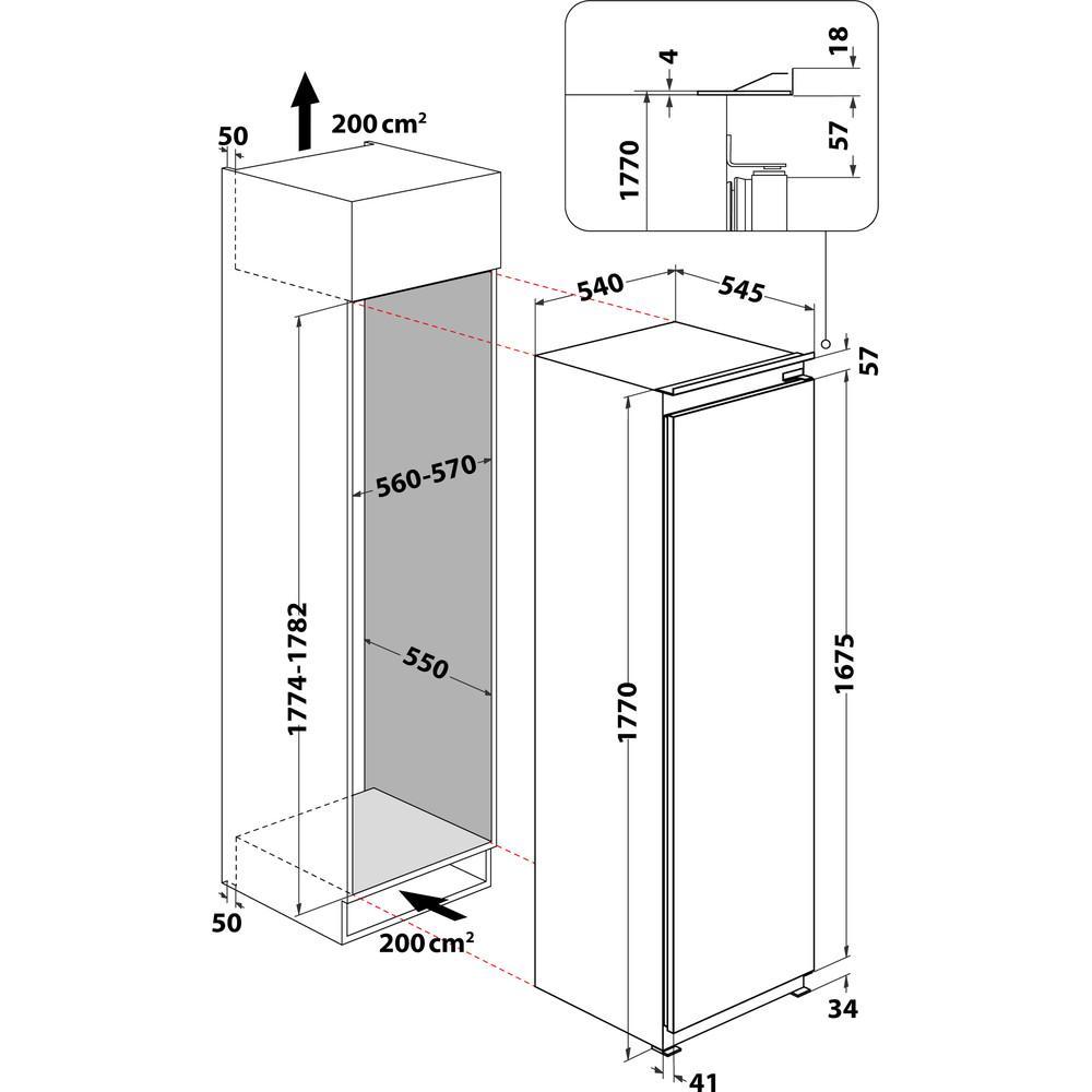 Indesit Chladnička Vstavané INS 1801 AA Biela Technical drawing