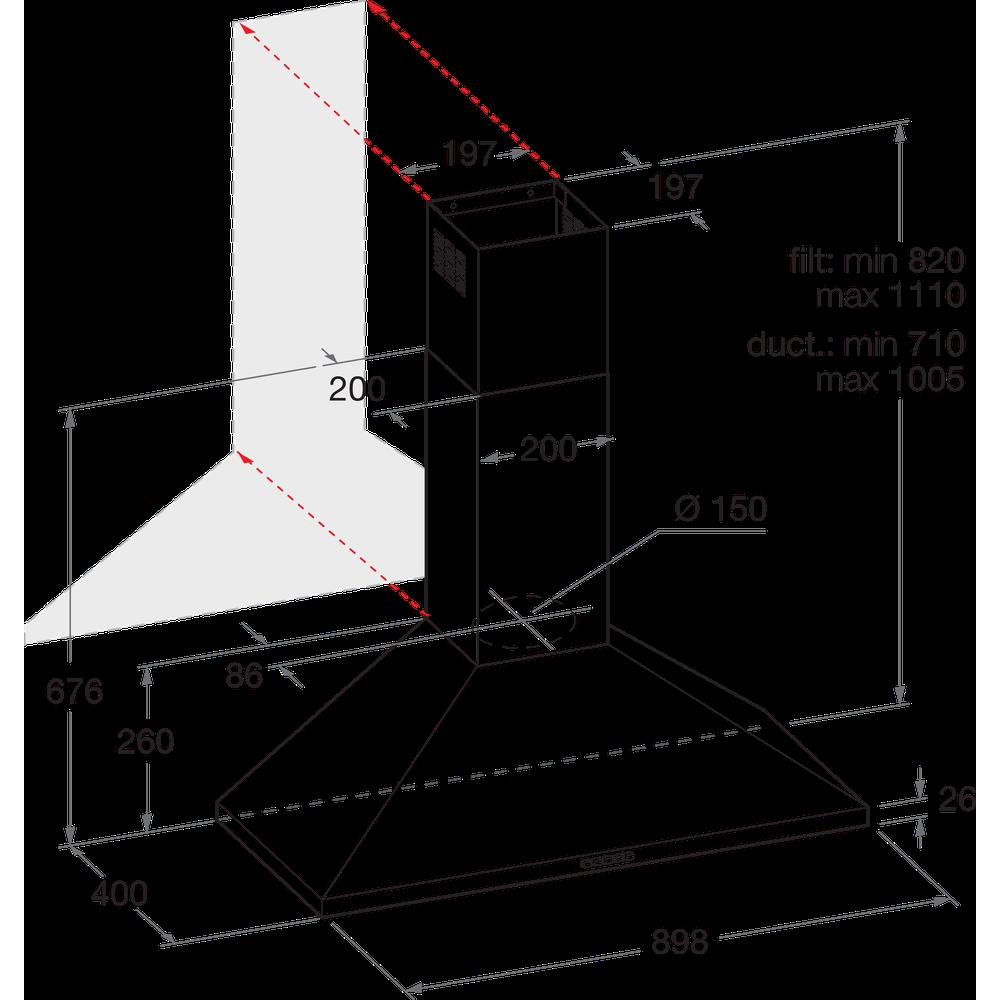 Indesit Cappa Da incasso IHPC 9.5 LM X Inox Montaggio a parete Meccanico Technical drawing