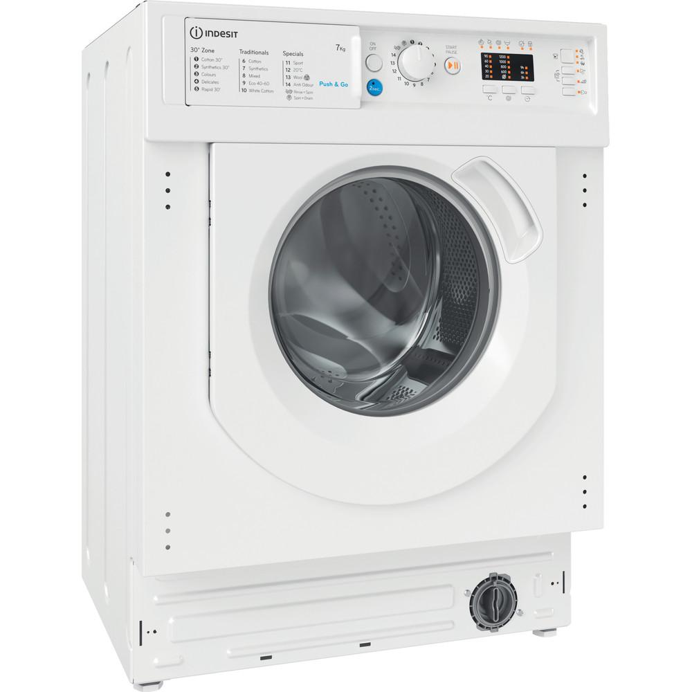 Indesit Washing machine Built-in BI WMIL 71252 UK N White Front loader E Perspective