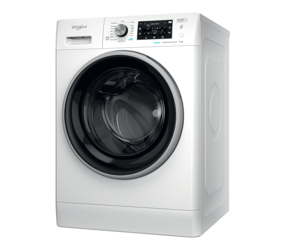 Whirlpool Washing machine Free-standing FFD 8448 BSV UK White Front loader C Perspective