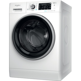 Whirlpool Washing machine Free-standing FFD 8458 BSV UK N White Front loader B Perspective