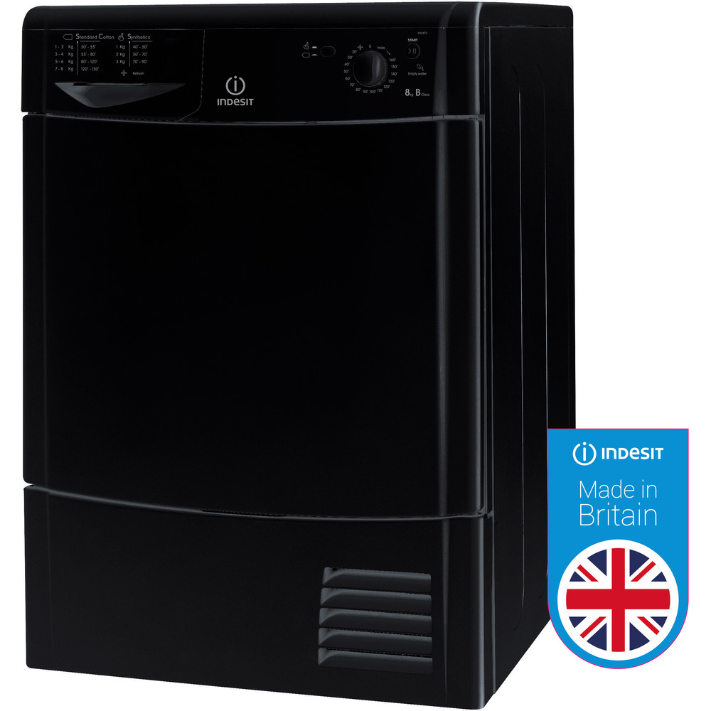 Indesit Dryer IDC 8T3 B K (UK) Black Perspective