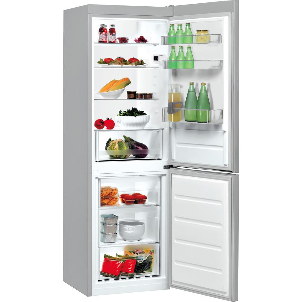 Indesit Hűtő/fagyasztó kombináció Szabadonálló LI7 S2E S Ezüst 2 doors Perspective open