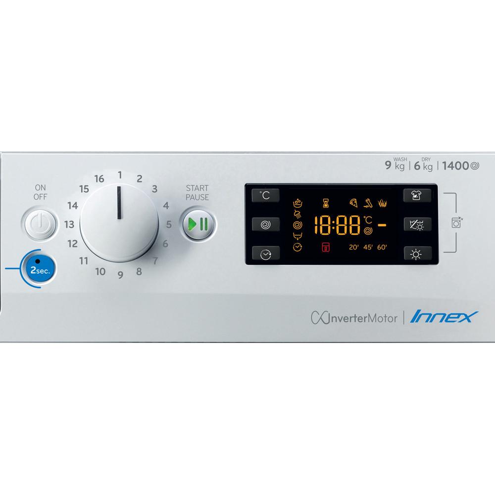 Indesit Was-droogcombinatie Vrijstaand BDEBE 961483X WK N Wit Voorlader Control panel