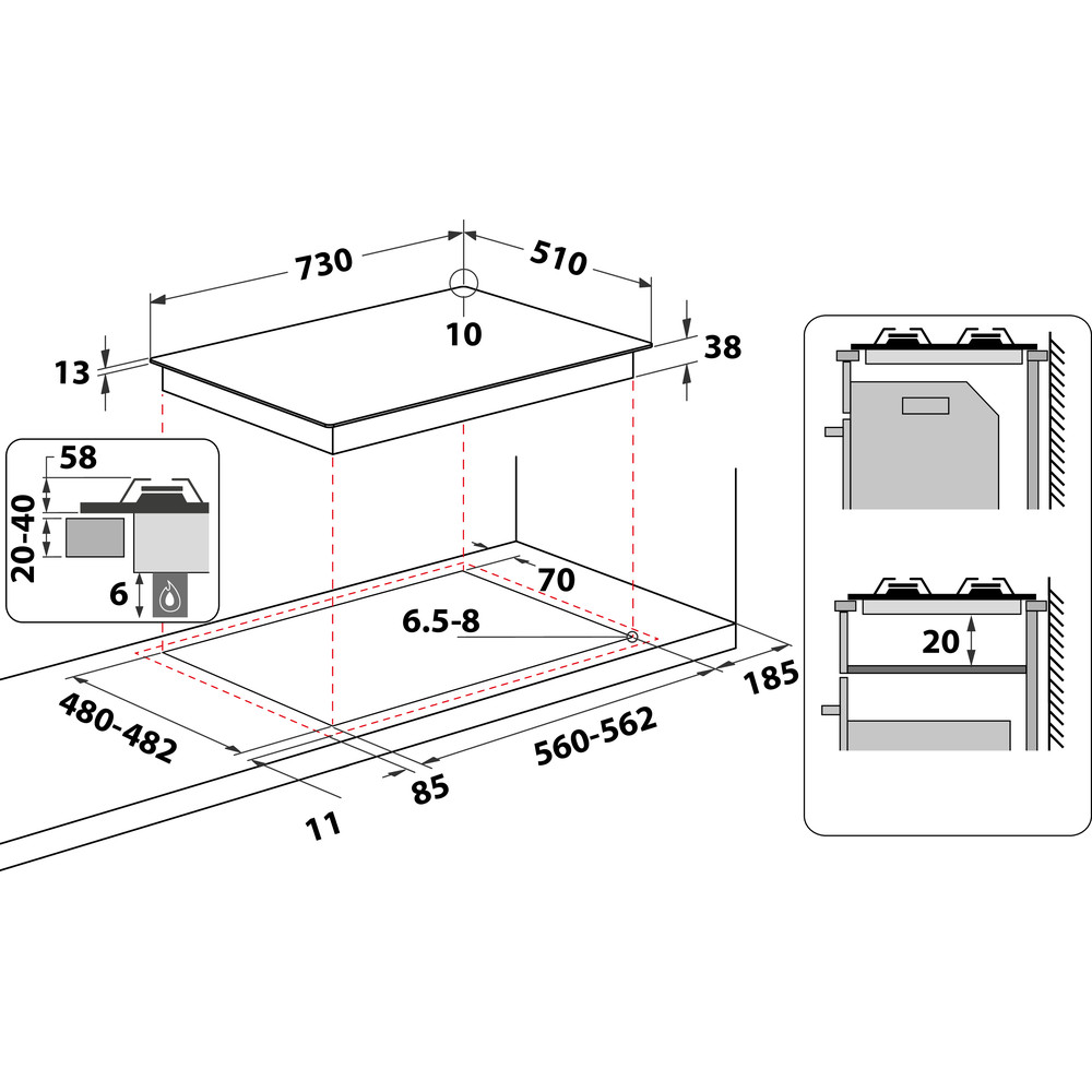 Indesit HOB THP 751 W/IX/I Inox GAS Technical drawing