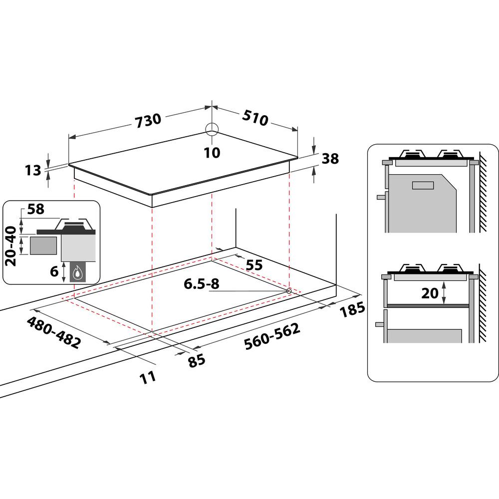 Indesit HOB THP 751 W/IX/I Inox GAS Technical drawing