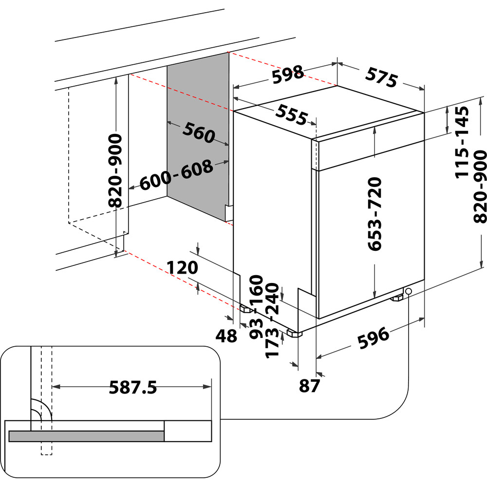 Indesit Lavastoviglie Da incasso DBE 2B19 A X Semi-integrato F Technical drawing