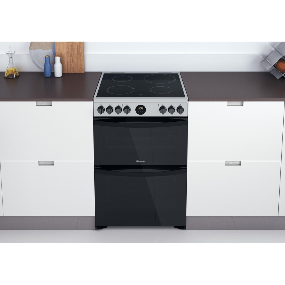 Indesit Double Cooker ID67V9HCX/UK Inox A Lifestyle frontal