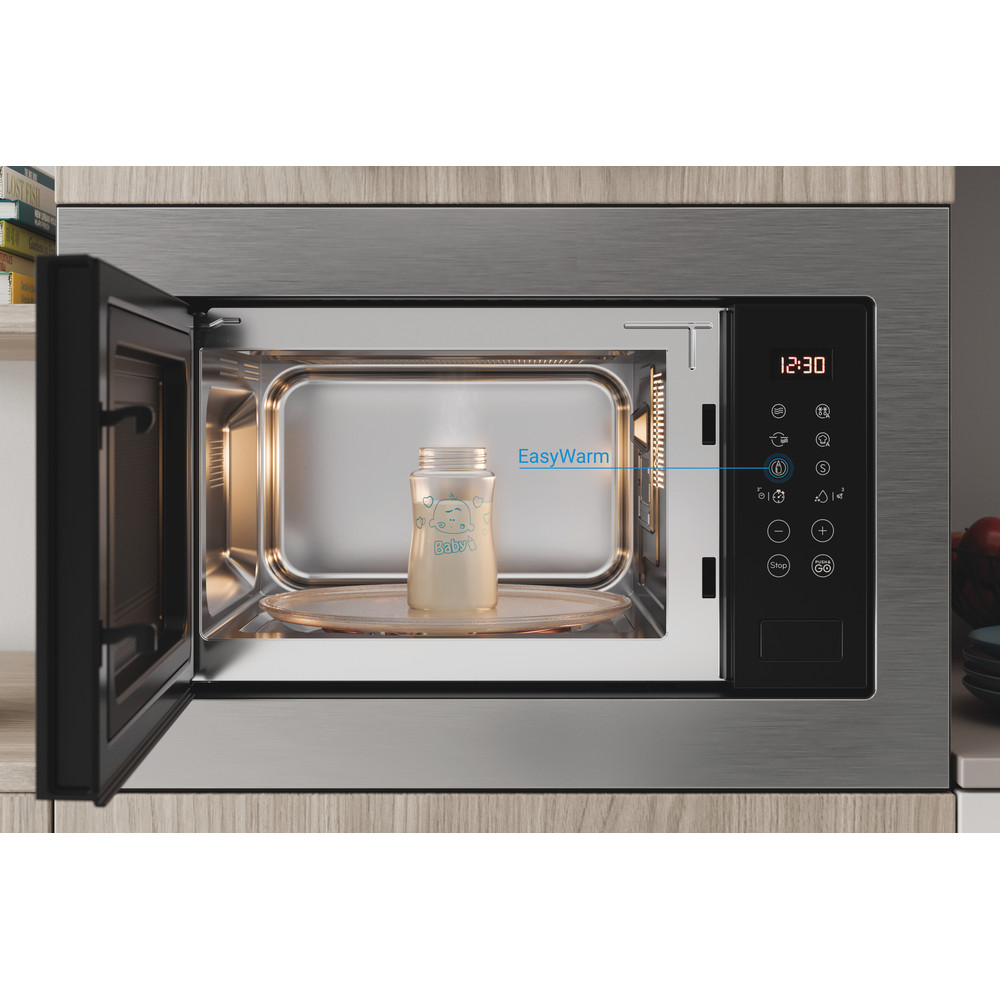 Indesit Microonde Da incasso MWI 125 GX Stainless Steel Elettronico 25 Microonde + grill 900 Lifestyle frontal open