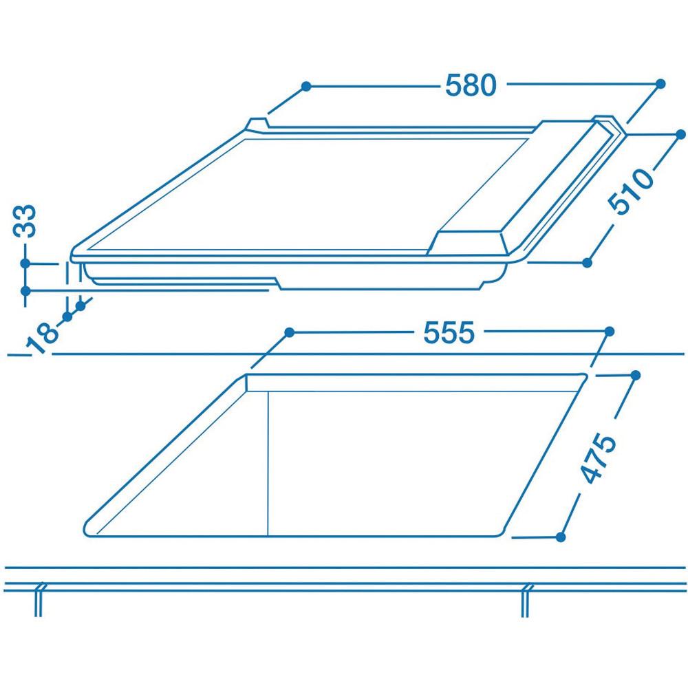 Indesit HOB PIM 604 (IX) GB Inox Solid Plate Technical drawing