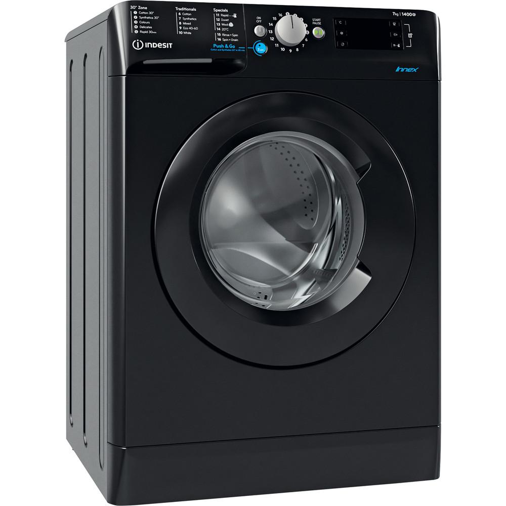 Indesit Washing machine Free-standing BWE 71452 K UK N Black Front loader E Perspective