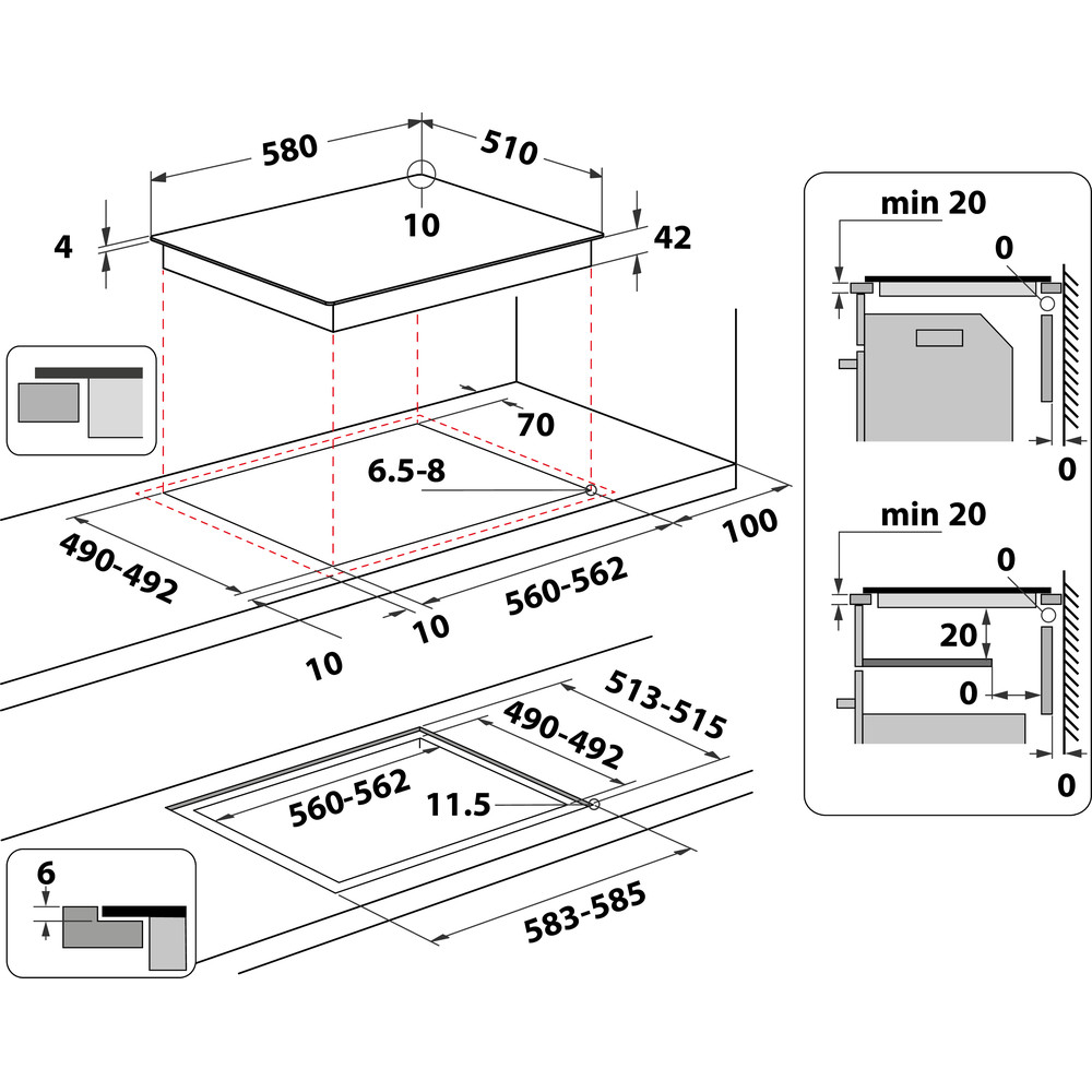 Indesit Spishäll RI 161 C Black Radiant vitroceramic Technical drawing