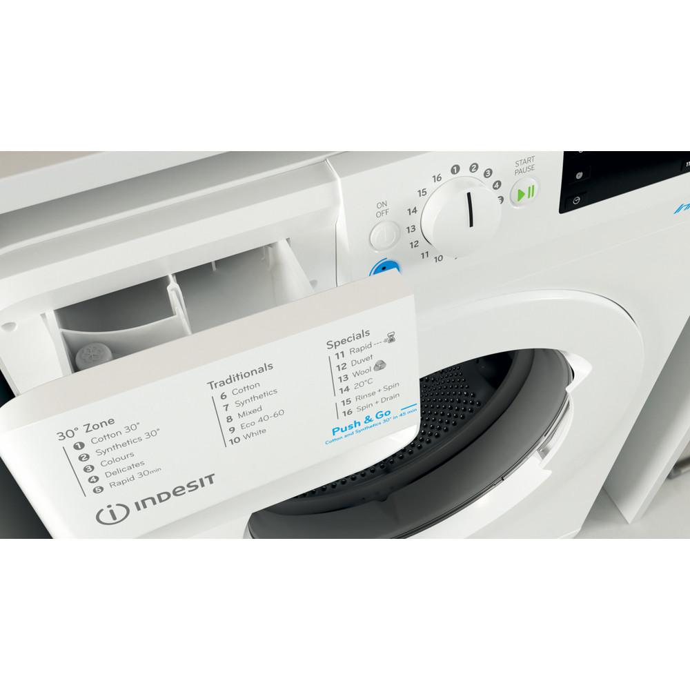 Indesit Washing machine Free-standing BWE 91683X W UK N White Front loader D Drawer