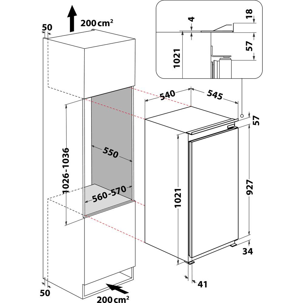 Indesit Réfrigérateur Encastrable INSZ 10011 Blanc Technical drawing