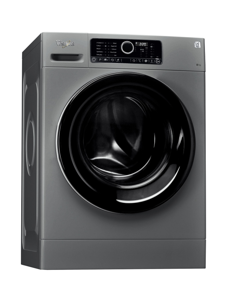 Whirlpool Washing machine Free-standing FSCR80214 Silver Front loader A+++ Perspective