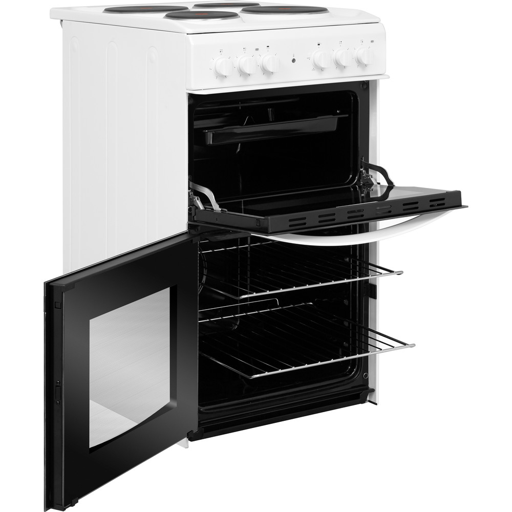 Indesit Double Cooker ID5E92KMW/UK White A Enamelled Sheetmetal Perspective open